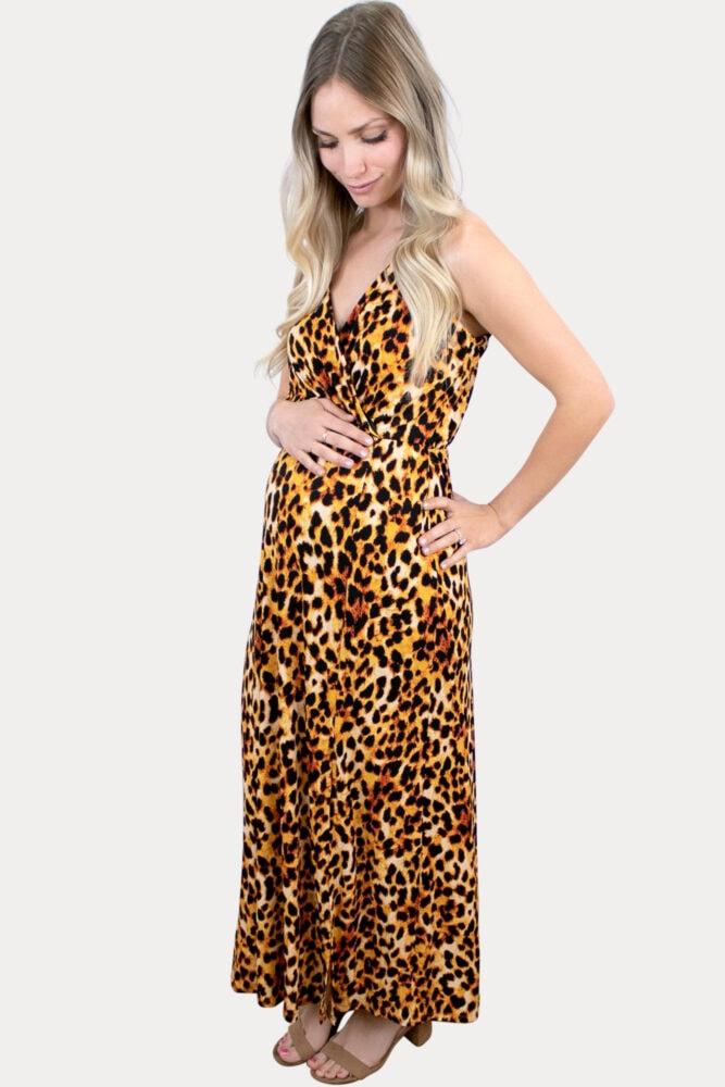 light leopard maternity maxi