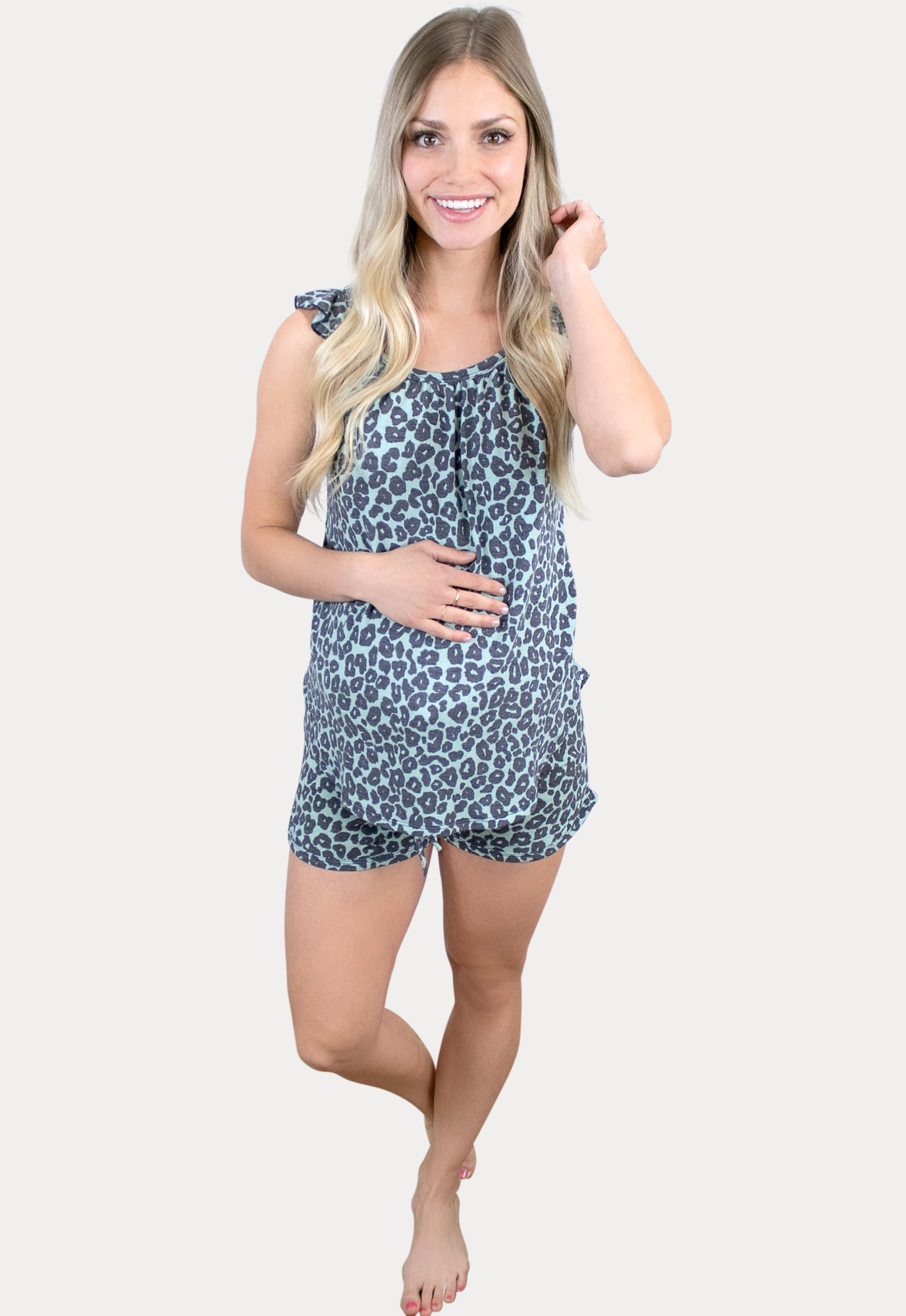 leopard maternity pajama set