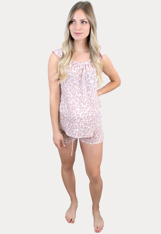 leopard pregnancy pajama set