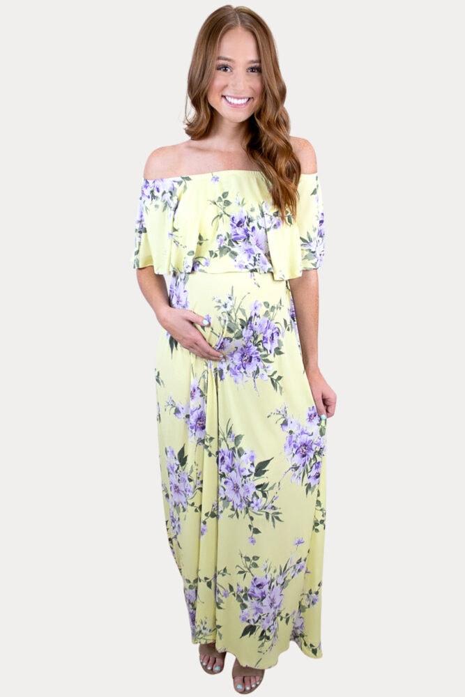 yellow floral pregnancy maxi dress