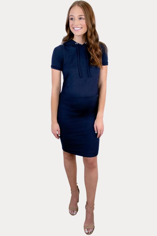 short sleeve hooded maternity dress