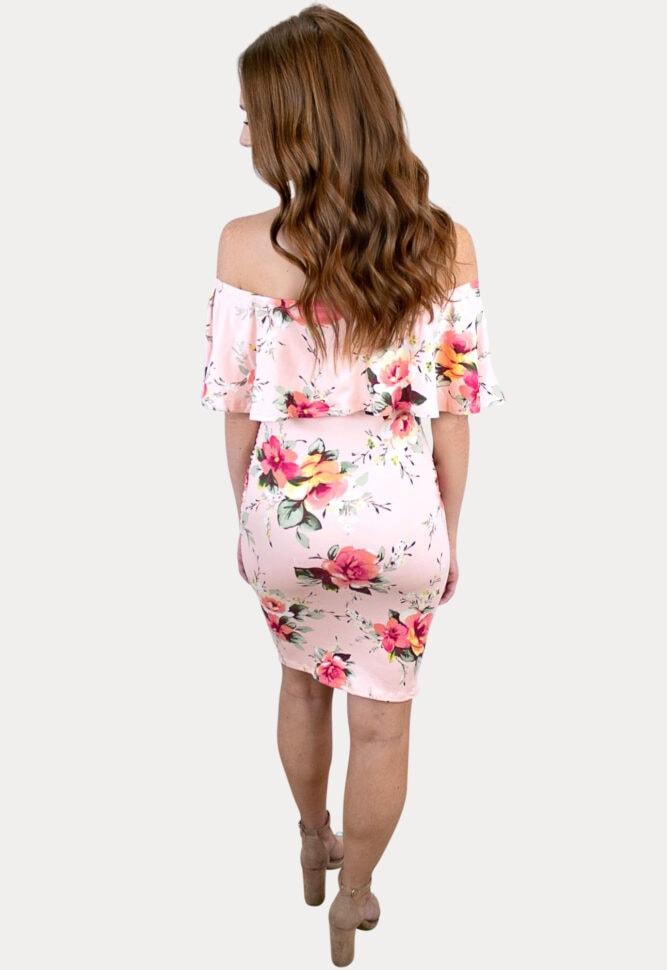 blush floral pregnancy dress