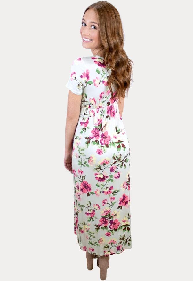 floral v-neck maternity maxi dress