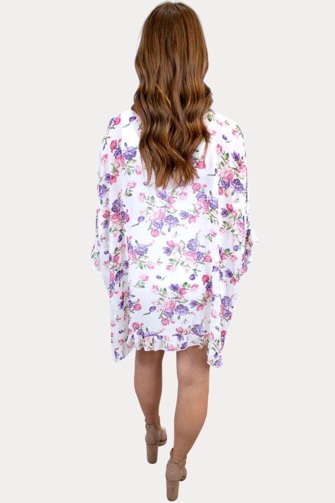 floral ruffle pregnancy kimono