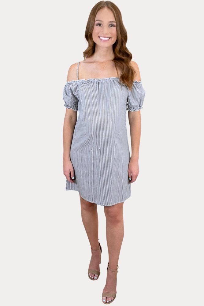 off the shoulder striped maternity dress