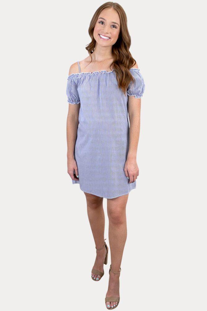 off the shoulder striped pregnancy dress