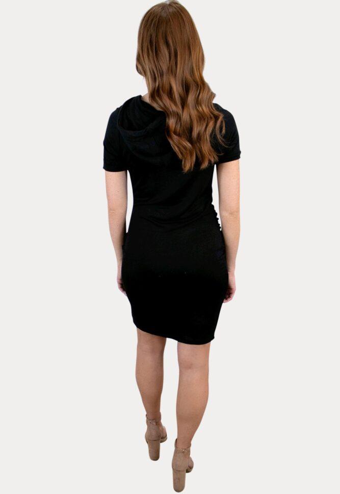 black hooded maternity dress