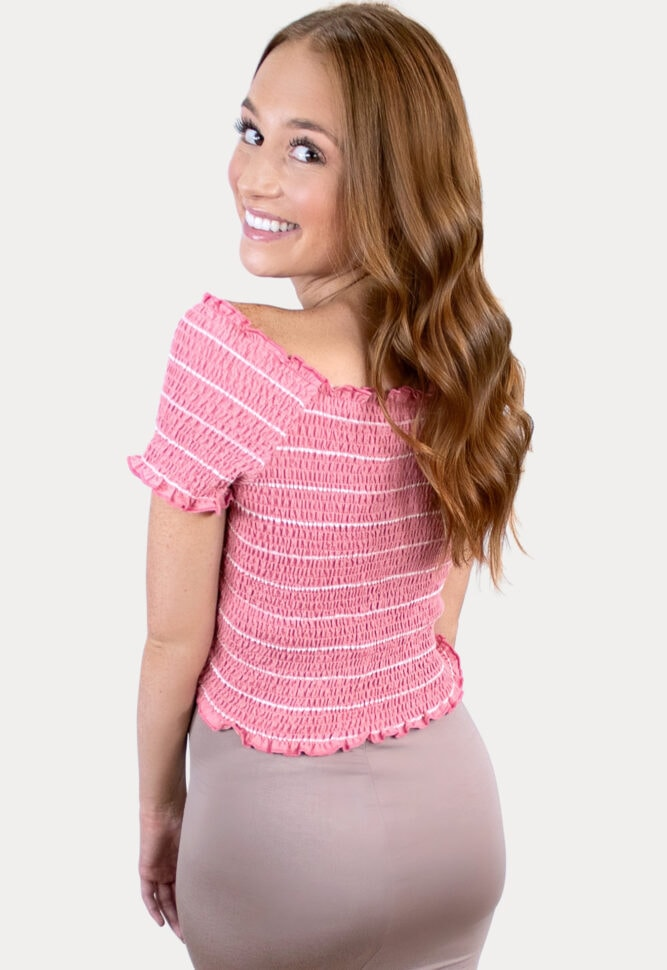 pink striped maternity crop