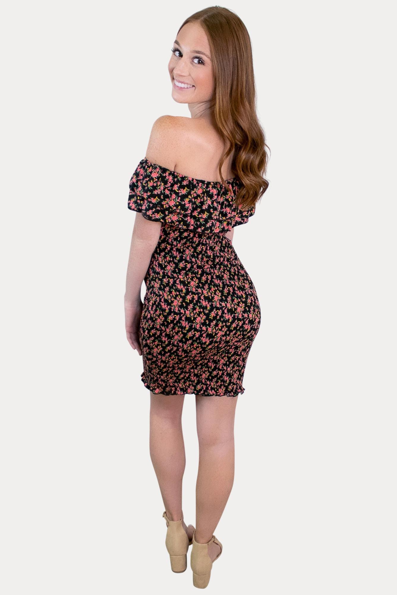 off the shoulder floral pregnancy dress