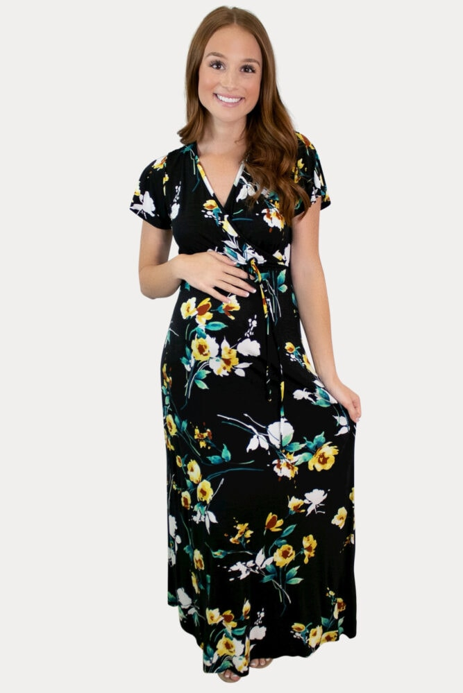 floral sweetheart maternity dress