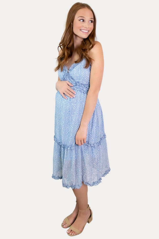 blue sleeveless pregnancy dress