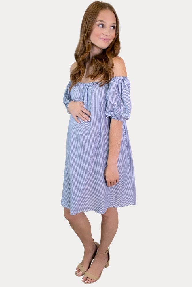 off the shoulder stripe pregnancy dress