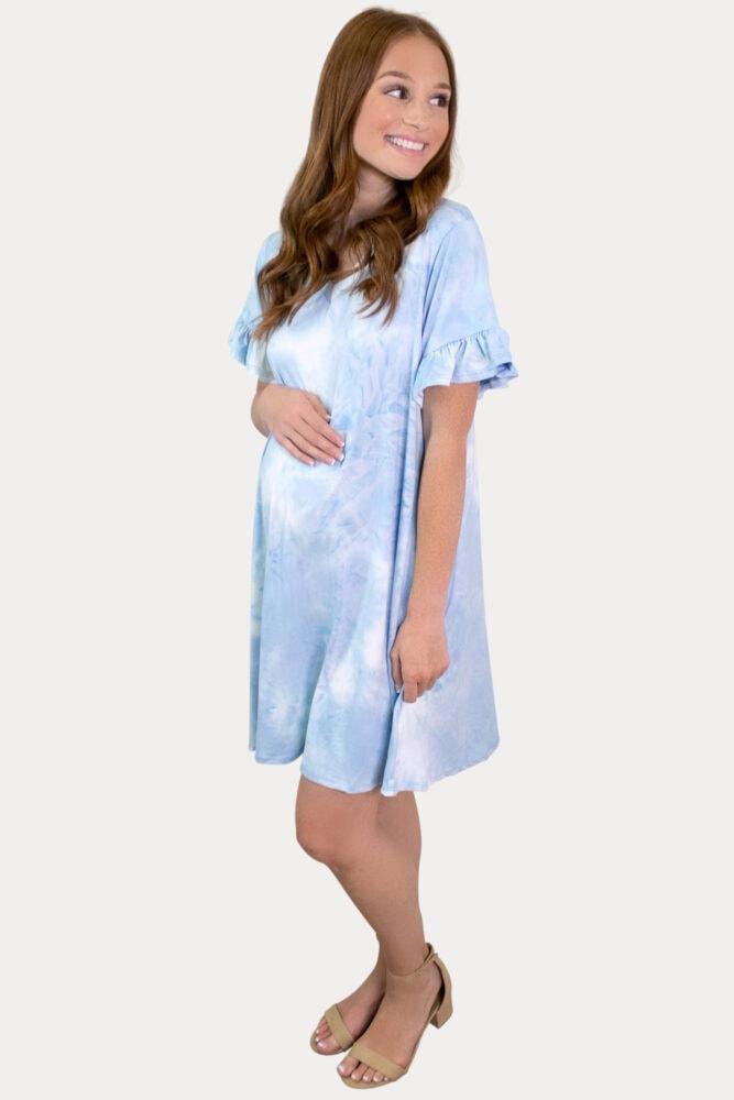 blue tie dye pregnancy dress