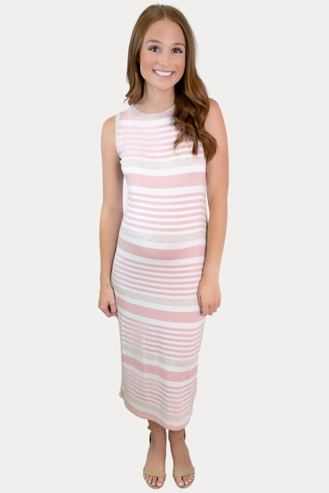 pink stripe maternity dress