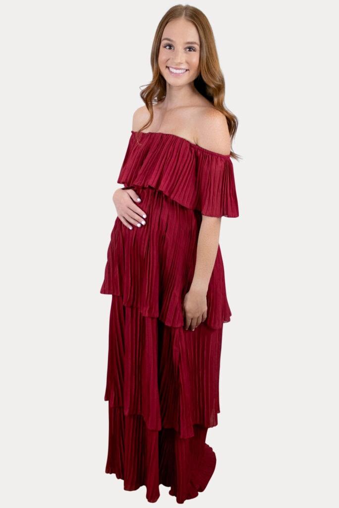 Elegant Red Maternity Dress