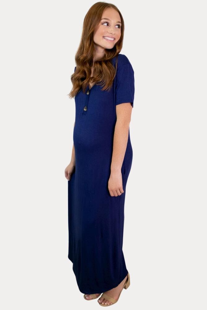blue pregnancy maxi
