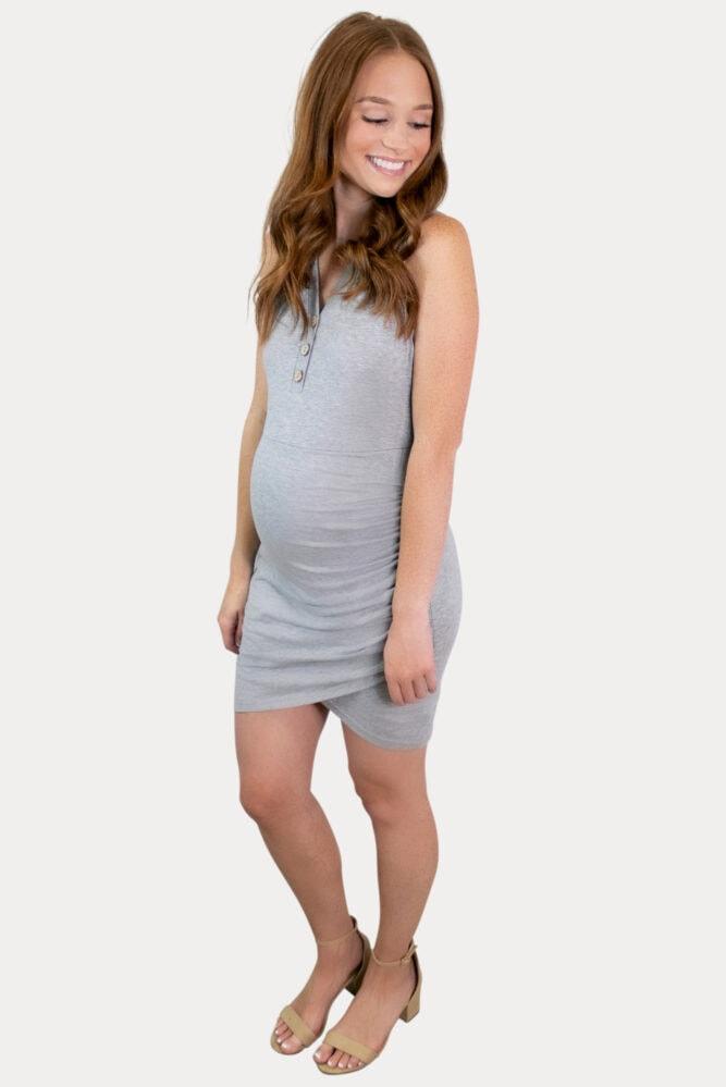 grey tank top maternity dress