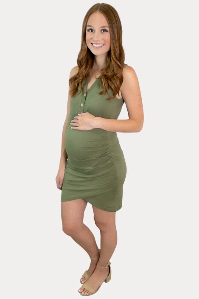 green tank top maternity dress