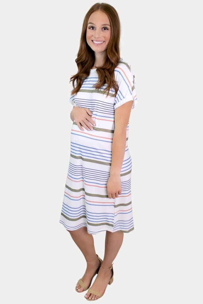 colorful stripe maternity dress