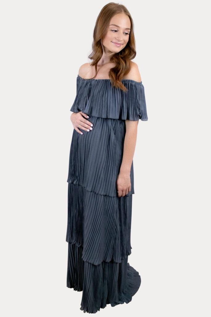 elegant blue maternity dress