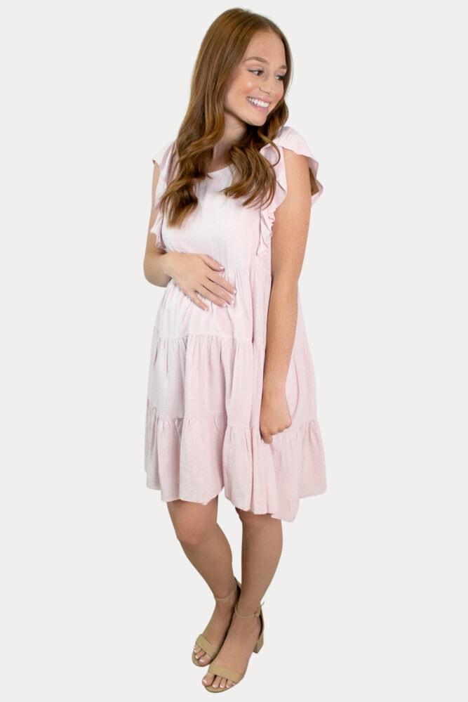 pink ruffle maternity dress
