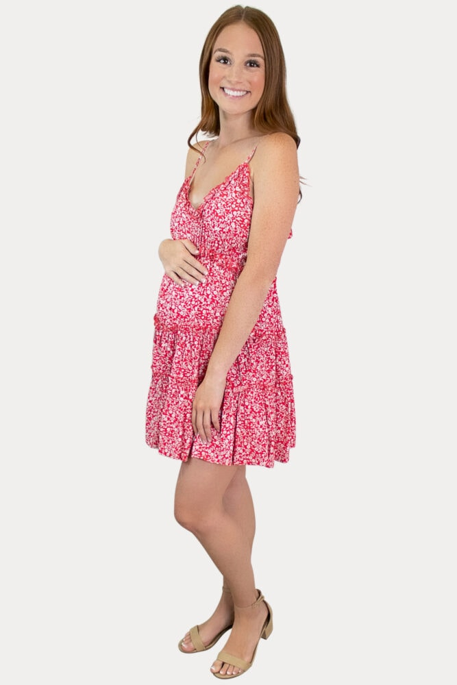 red tank maternity dress