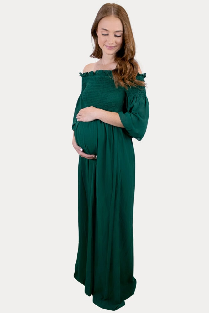 elegant green maternity dress