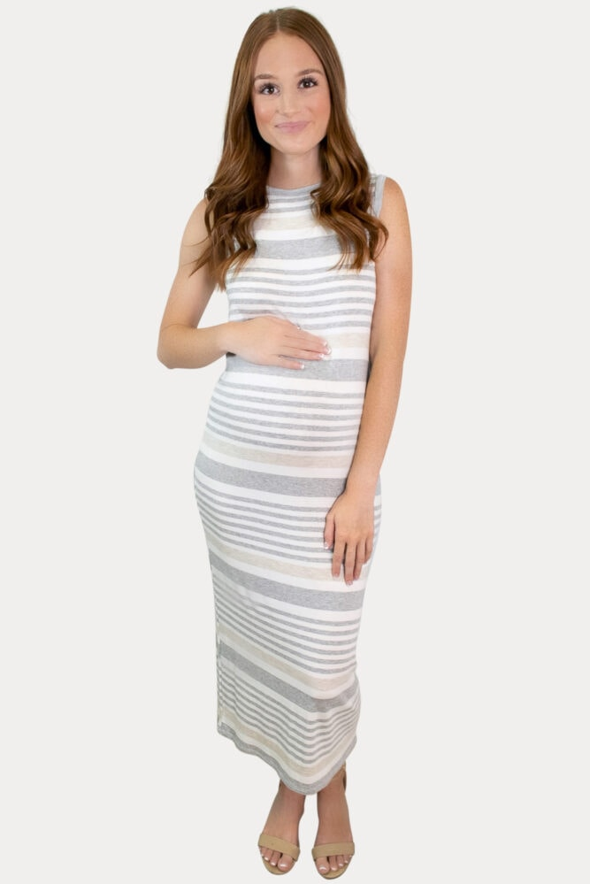 grey stripe maternity dress