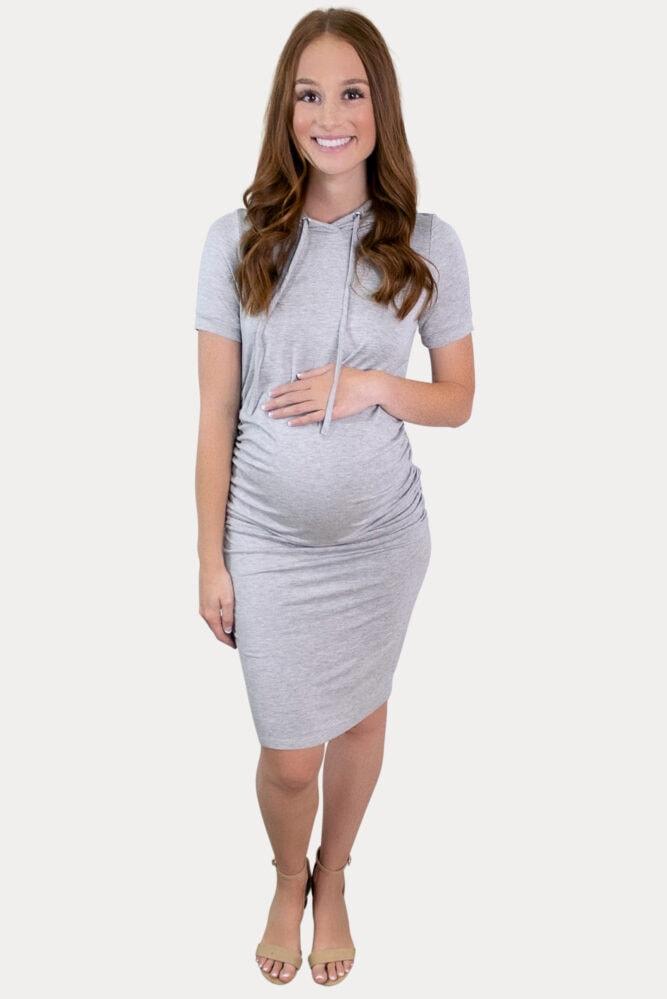 grey hooded maternity dress