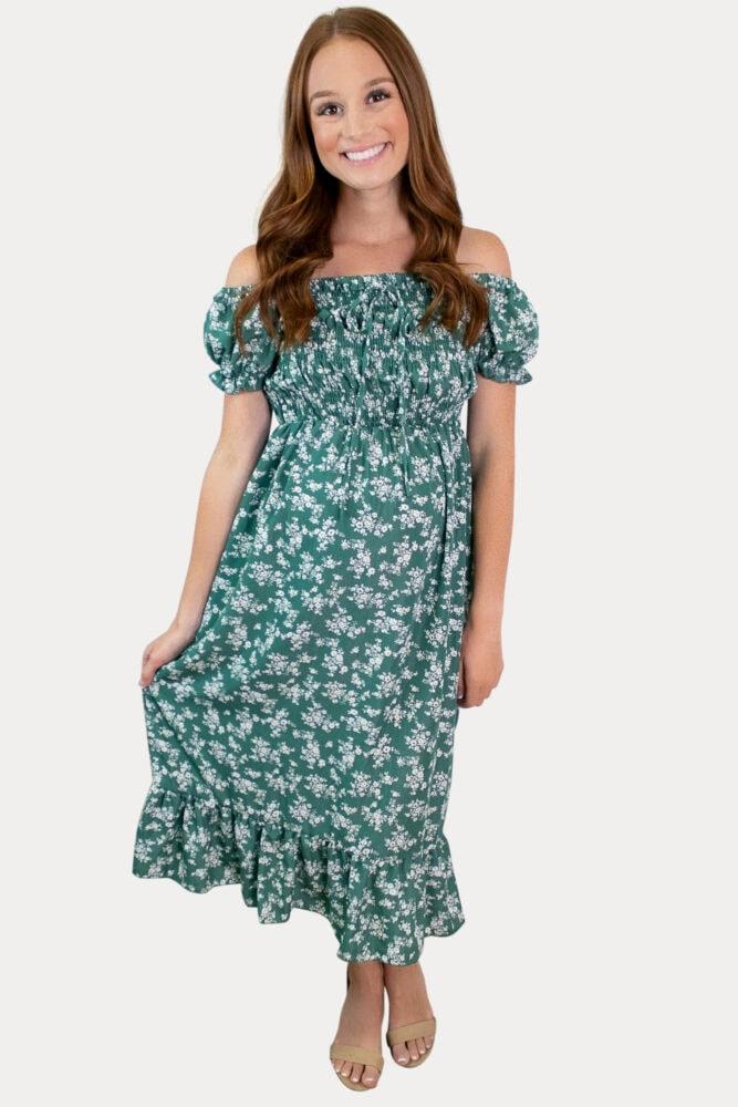green floral pregnancy dress