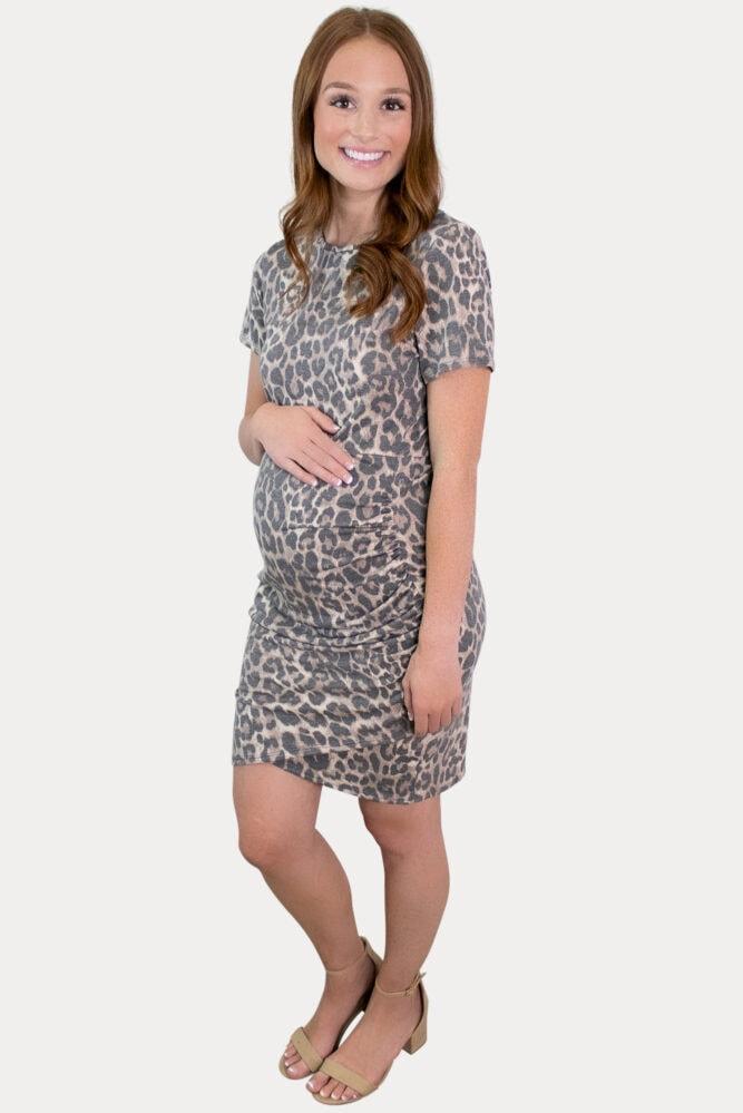 leopard mini pregnancy dress