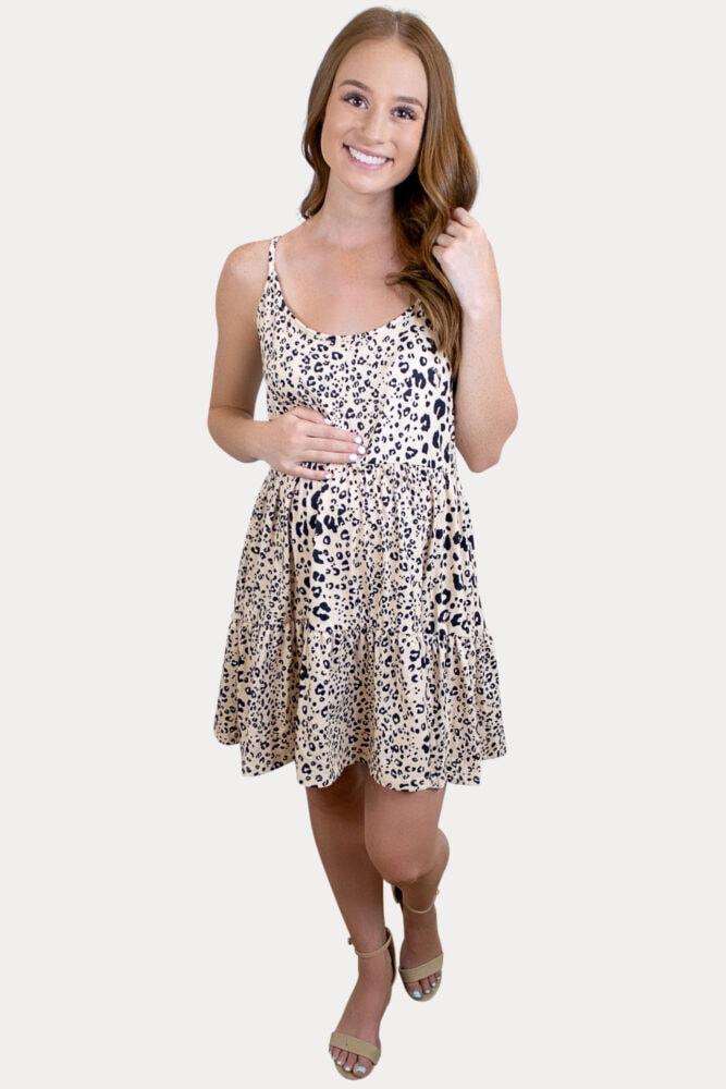 leopard tank top maternity dress
