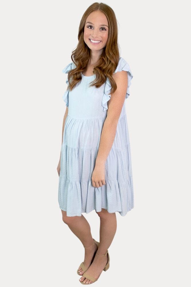 blue ruffle maternity dress