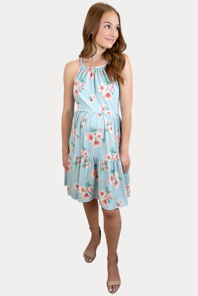 blue floral pregnancy dress