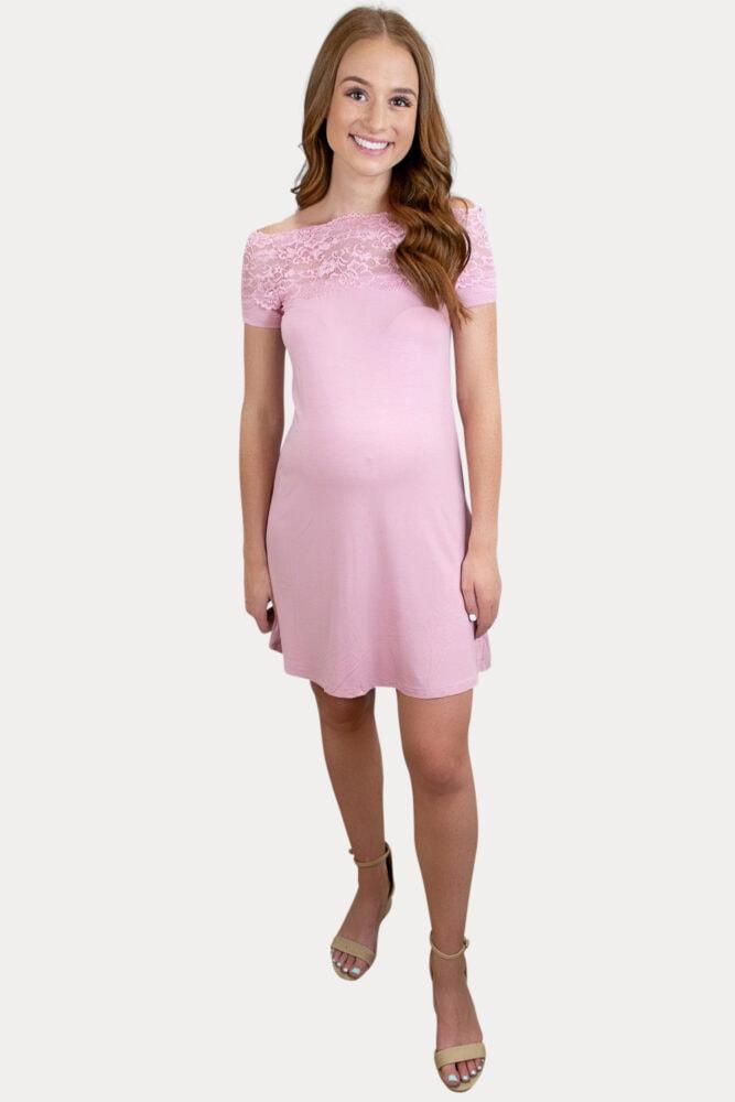 lace trim pregnancy dress
