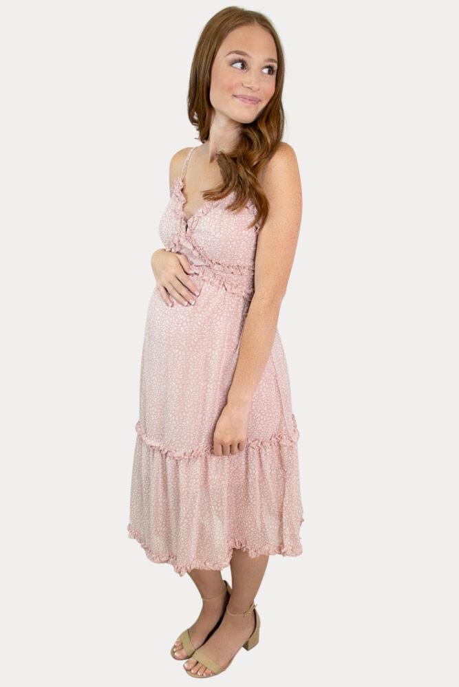 pink strap pregnancy dress