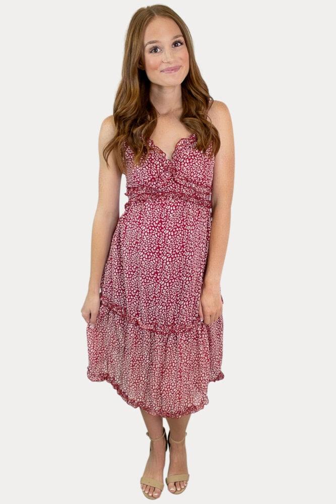 red sleeveless pregnancy dress