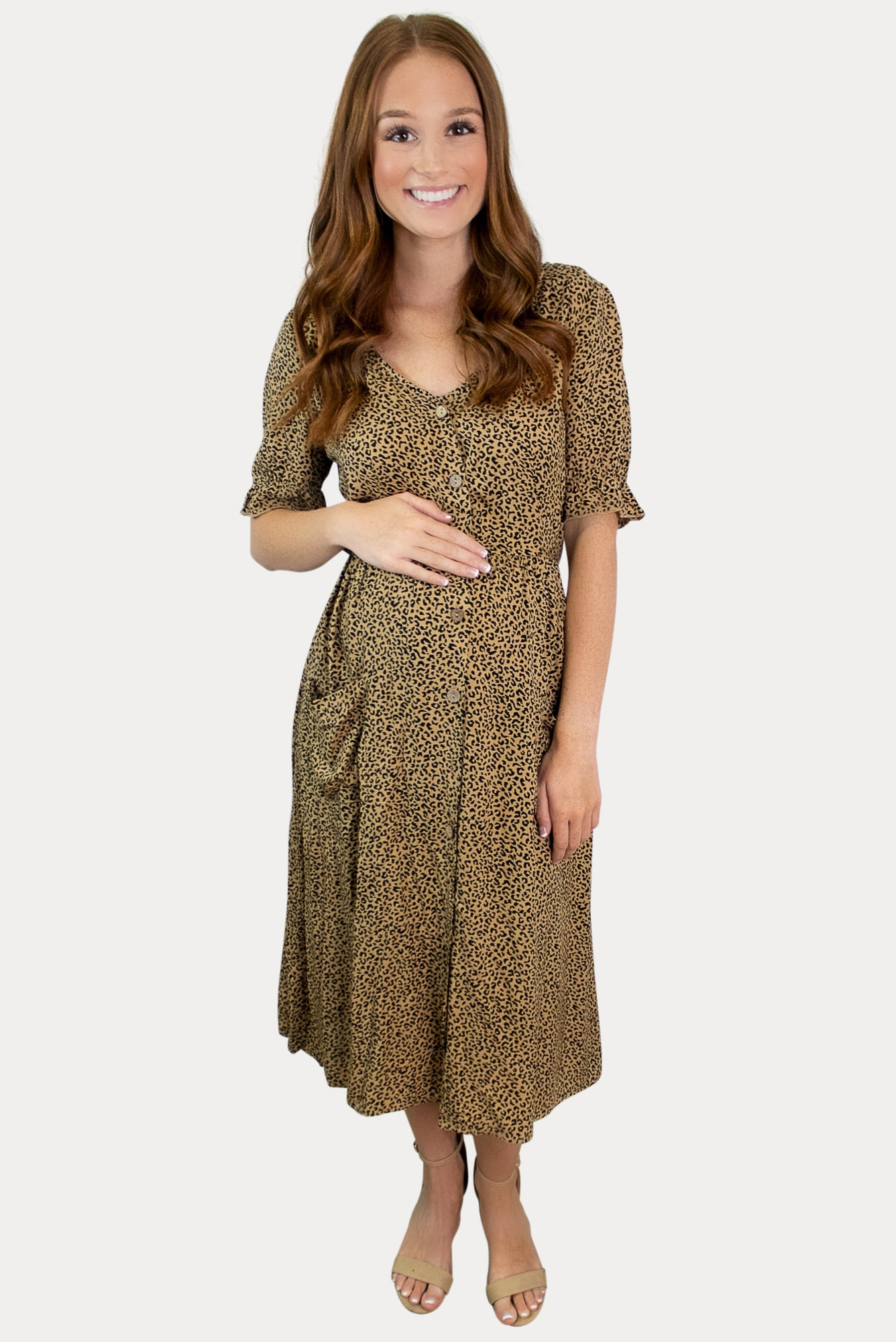 leopard button maternity dress