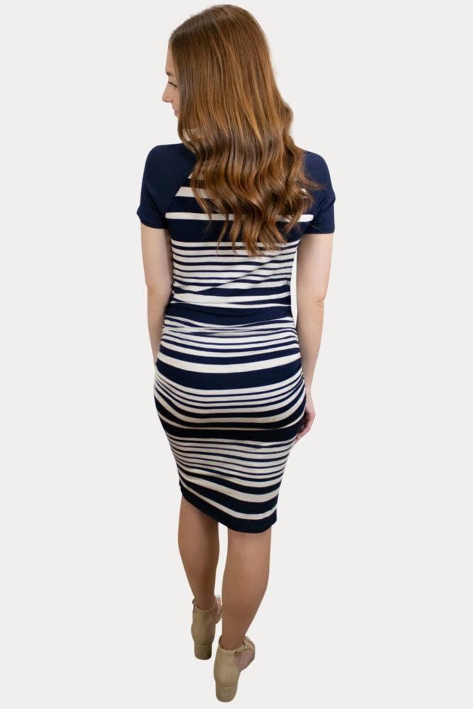 striped bodycon maternity dress