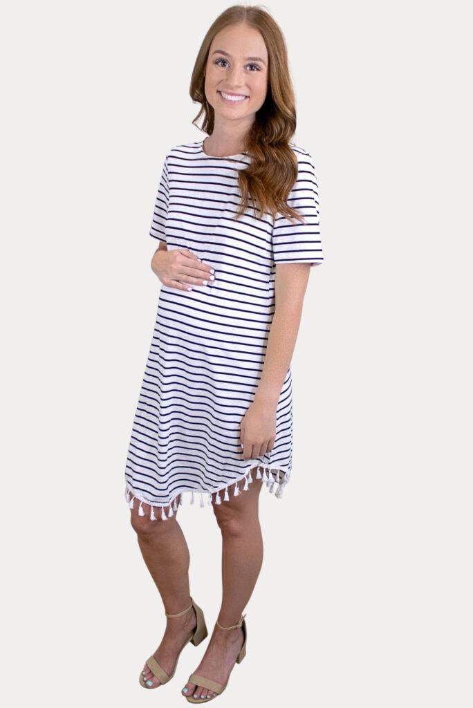 pregnancy dress with stripes