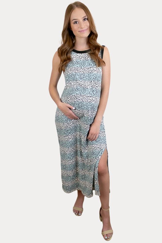 striped leopard maternity dress