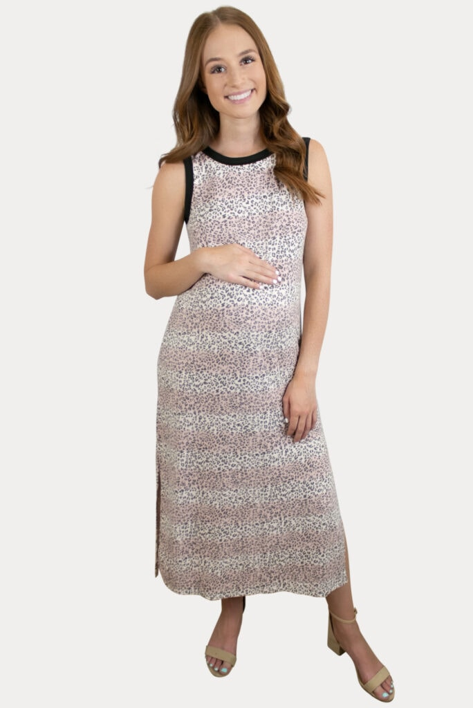 striped leopard pregnancy dress