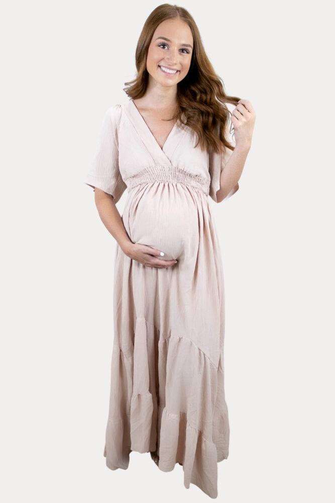 elegant v-neck maternity maxi