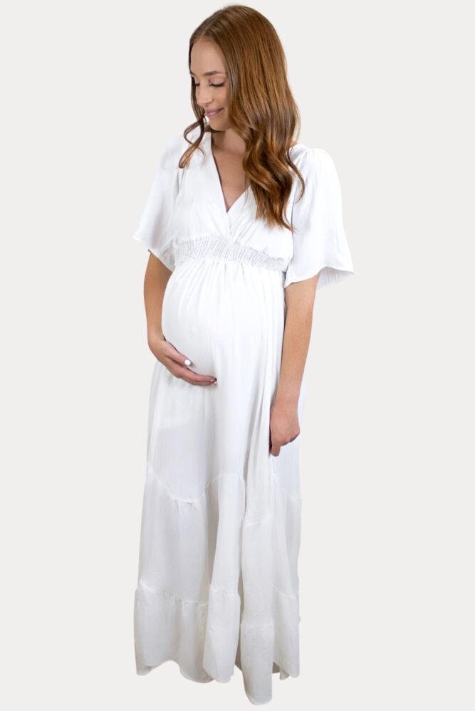 white v-neck maternity maxi