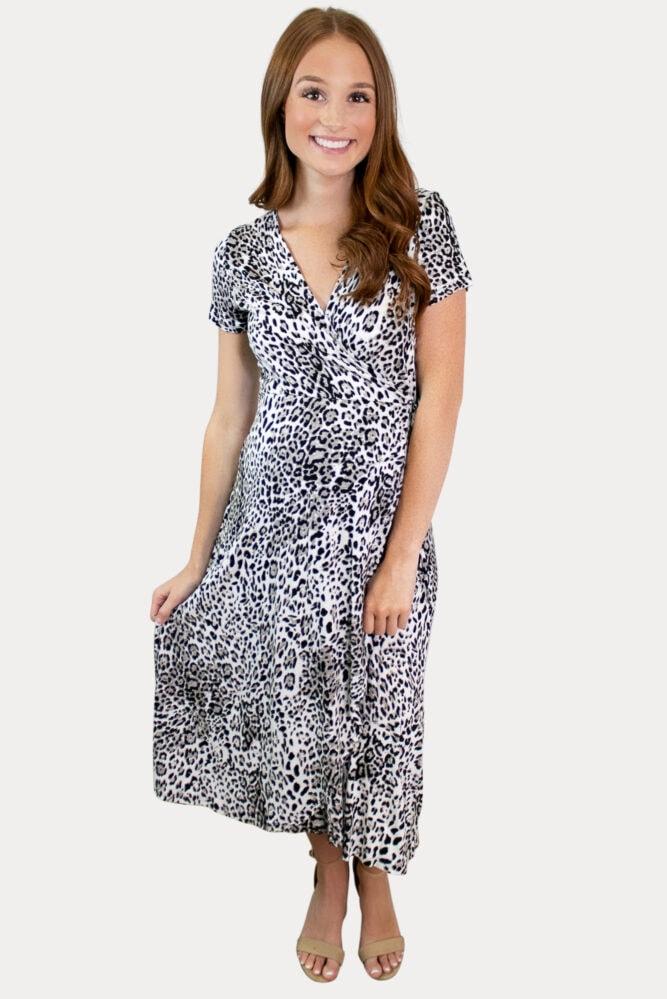 leopard wrap pregnancy dress