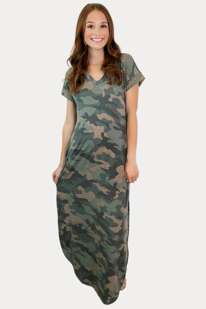 camo pregnancy maxi dress