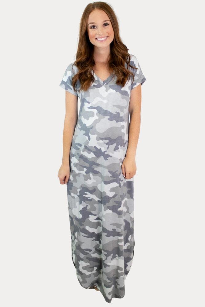 grey camo pregnancy dress