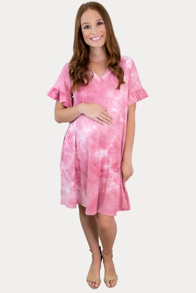 ruffle tie dye maternity dress