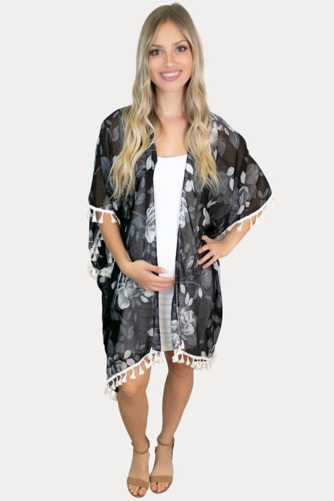 black floral maternity kimono