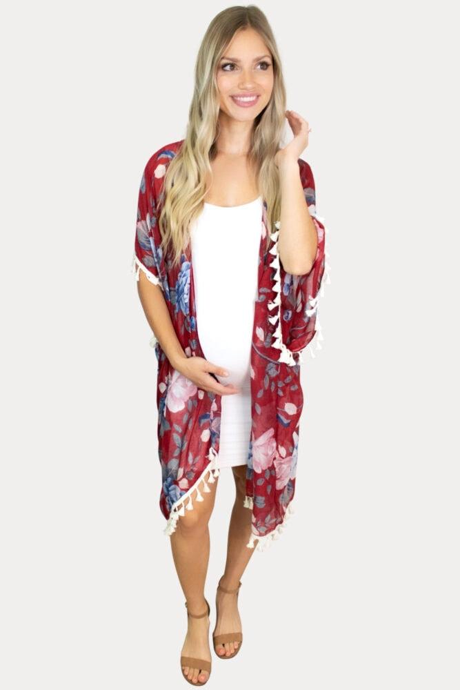 burgundy floral pregnancy kimono